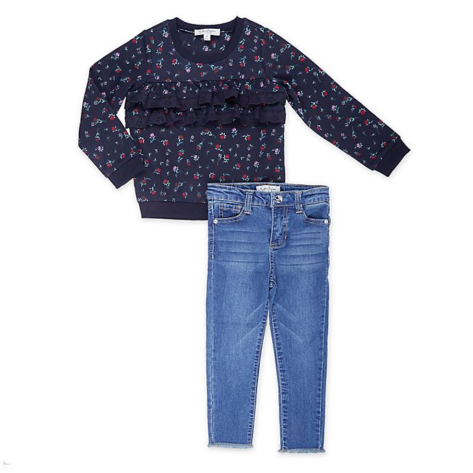 Alternate image 1 for Jessica Simpson 2-Piece Floral Print Top and Jean Set in Black