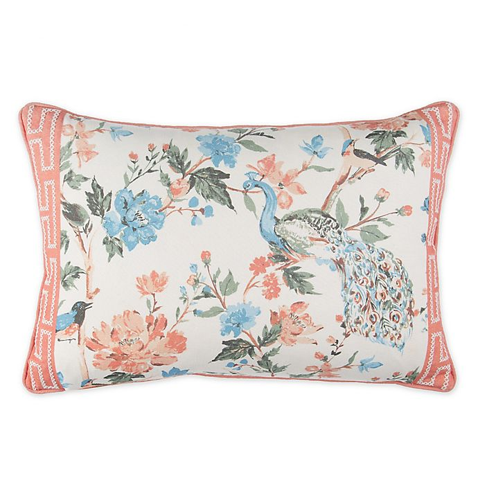 Wamsutta Meader Key Peacock Floral Oblong Throw Pillow Bed Bath And Beyond Canada
