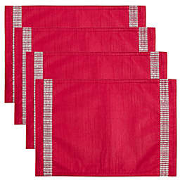 Saro Lifestyle Brilliante Studded Placemats in Red (Set of 4)