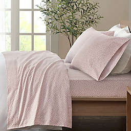 True North by Sleep Philosophy Dotted Cozy Flannel Full Sheet Set in Blush