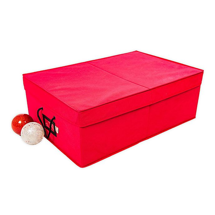 Alternate image 1 for Santa's Bags 2-Tray 4-Inch Ornament Storage Box in Red