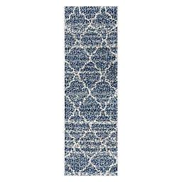 JONATHAN Y Susa Ogee Moroccan Trellis Shag 2' x 8' Runner Rug in Indigo Blue