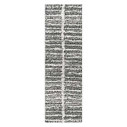 JONATHAN Y Merida Stacked Grid Shag 2' x 8' Runner Rug in Grey