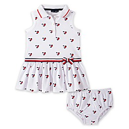 Tommy Hilfiger® 2-Piece Heart Print Dress and Diaper Cover Set in Blue/White