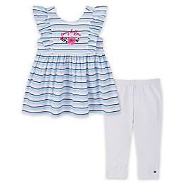 Tommy Hilfiger® 2-Piece Striped Top and Legging Set in Blue/White