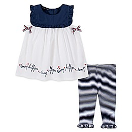 Tommy Hilfiger® 2-Piece Top and Capri Legging Set in White/Navy