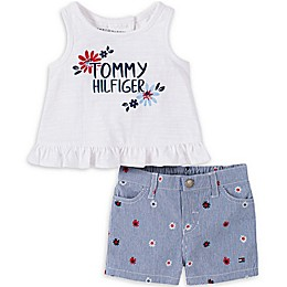Tommy Hilfiger® Floral Logo Shirt and Short Set in White