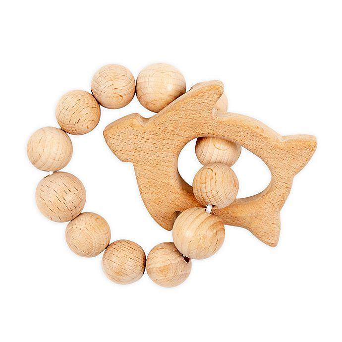 Alternate image 1 for Bebe Au Lait® Seat Turtle Wooden Teething Ring in Tan