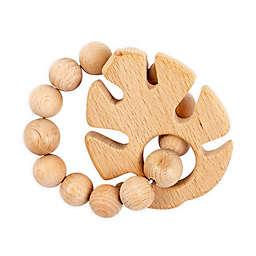 Bebe Au Lait® Tropical Leaf Wooden Teething Ring in Tan