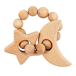 Bebe Au Lait® Moon & Star Wooden Teething Ring in Tan