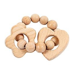 Bebe Au Lait® Heart & Flower Wooden Teething Ring in Tan