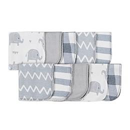 Gerber® 10-Pack Elephant Wash Cloths in Grey