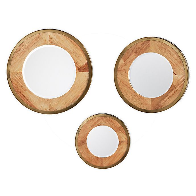 Alternate image 1 for Southern Enterprises Lystran 3-Piece Wall Mirrors in Natural/Gold (Set of 3)