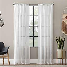Clean Window® Textured Slub Anti-Dust 95-Inch Curtain Panel in White