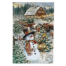 Luxen Home LED Illuminated 23.6-Inch x 15.7-Inch Snowman Christmas Tree Farm Canvas Wall Art