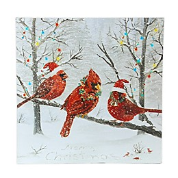 Red Cardinals Canvas Print with LED Lights
