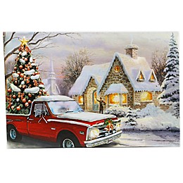 Luxen Home LED Illuminated 15.7-Inch x 23.6-Inch Home for the Holidays Truck Canvas Wall Art