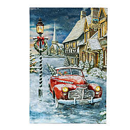 Luxen Home LED Illuminated 23.6-Inch x 15.7-Inch Home for the Holidays Car Canvas Wall Art