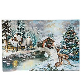 Luxen Home LED Illuminated 15.7-Inch x 23.6-Inch Through the Woods Truck Canvas Wall Art