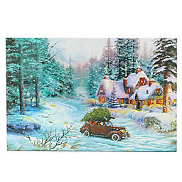 Luxen Home LED Illuminated 15.7-Inch x 23.6-Inch Through the Woods Car Canvas Wall Art