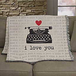 Love Notes Personalized 56- Inch x 60-Inch Woven Throw