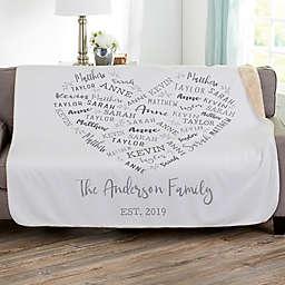 Farmhouse Heart Personalized 60-Inch x 80-Inch Sherpa Blanket