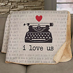 Love Notes Personalized 60-Inch x 80-Inch Sherpa Blanket