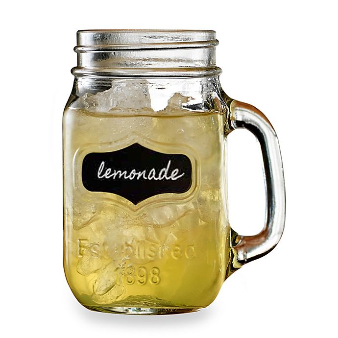 Alternate image 1 for Yorkshire 17.5-Ounce Chalkboard Mason Jar Glasses (Set of 4)