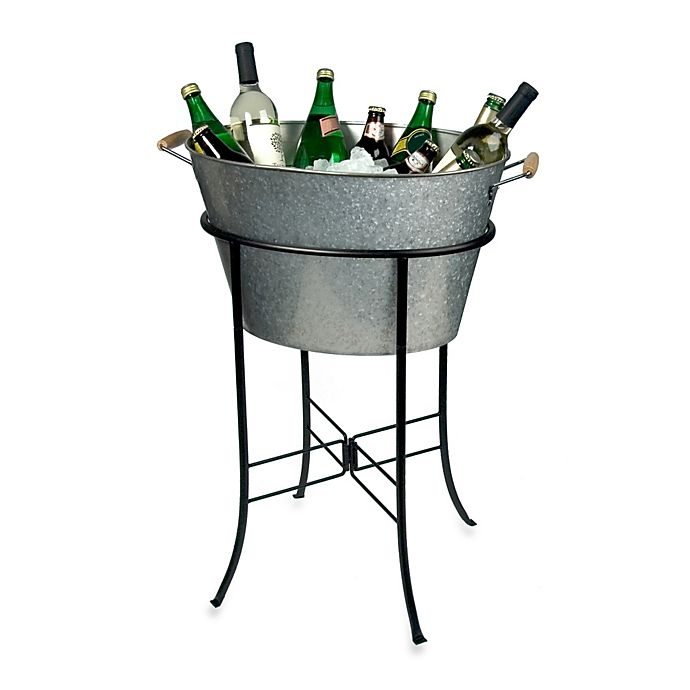 Alternate image 1 for Artland® Oasis Galvanized Steel Oval Party Tub with Stand