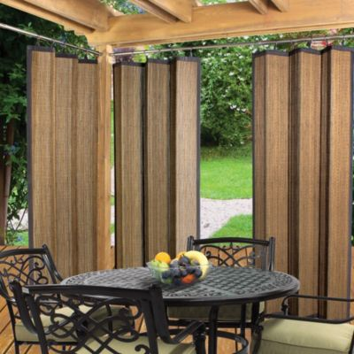 Easy Glide Indoor Outdoor Bamboo Ring Top Window Curtain Panel In Espresso Bed Bath And Beyond Canada