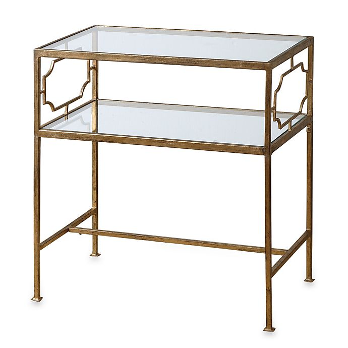 Alternate image 1 for Uttermost Genell Gold-Leaf Iron Glass Side Table