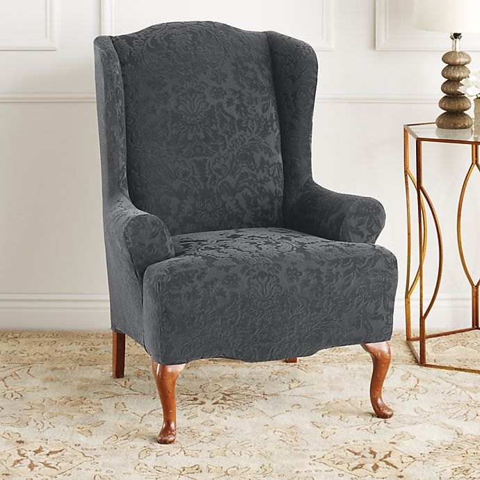 Stretch Jacquard Damask Wingback Chair, Grey Wingback Chair Slipcover