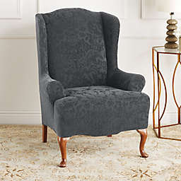 Sure Fit® Stretch Jacquard Damask Wingback Chair Slipcover in Grey