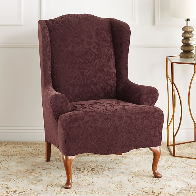 Sensational Sure Fit Stretch Jacquard Damask Wingback Chair Slipcover Pdpeps Interior Chair Design Pdpepsorg