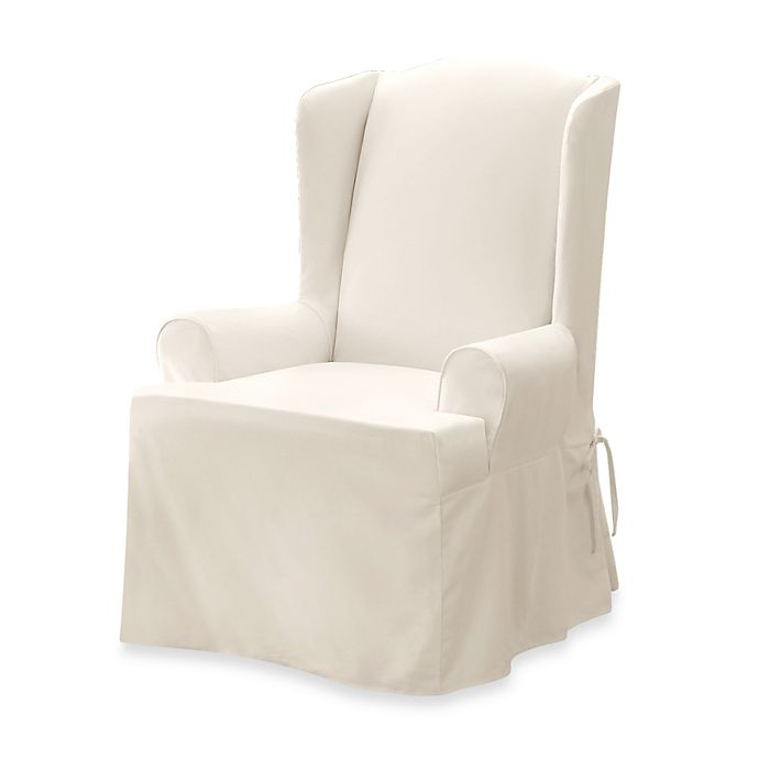 Outstanding Sure Fit Twill Supreme Wingback Chair Slipcover Pdpeps Interior Chair Design Pdpepsorg