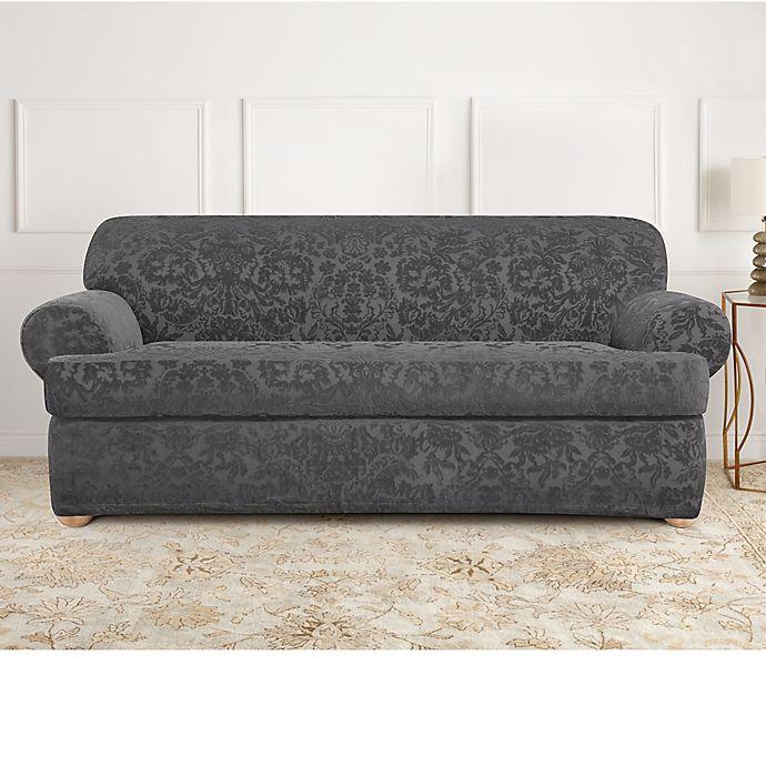 Sure Fit® Stretch Jacquard T-Cushion 2-Piece Sofa Slipcover ...