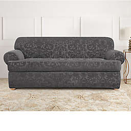Sure Fit® Stretch Jacquard T-Cushion 2-Piece Sofa Slipcover in Grey