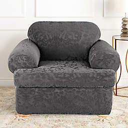 Sure Fit® Stretch Jacquard Damask 2-Piece T-Cushion Chair Slipcover in Grey