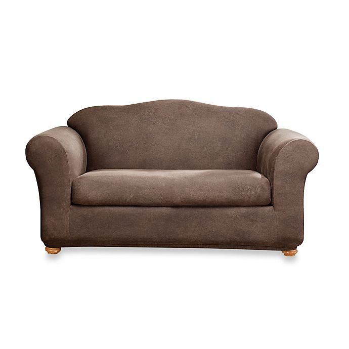 Stretch Leather Sofa Slipcover In Brown