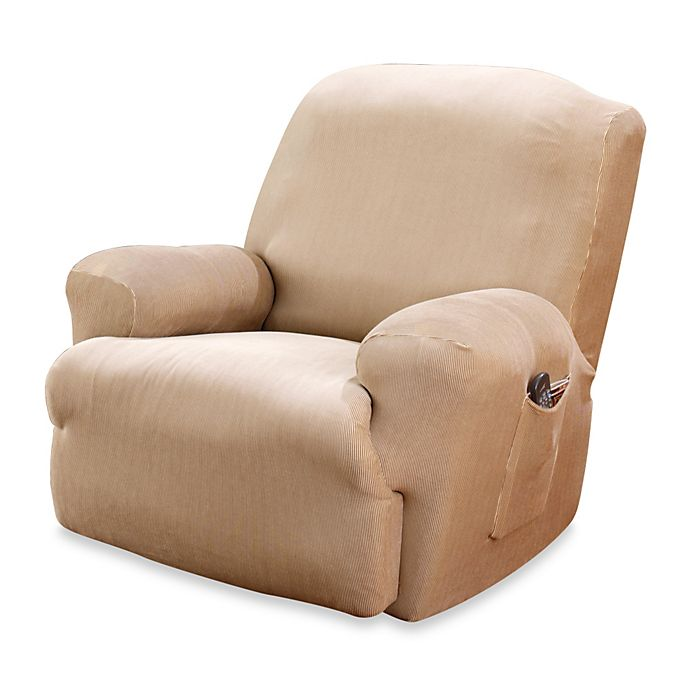 Alternate image 1 for Sure Fit® Stretch Stripe Recliner Slipcover in Sand