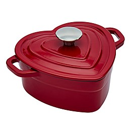 Artisanal Kitchen Supply® 2 qt. Enameled Cast Iron Heart Dutch Oven in Red