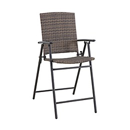 Barrington Wicker High Folding Patio Chairs in Brown (Set of 2)