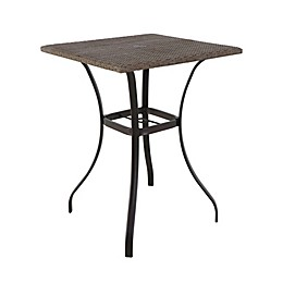 Barrington Wicker High Patio Dining Table in Brown with Umbrella Hole