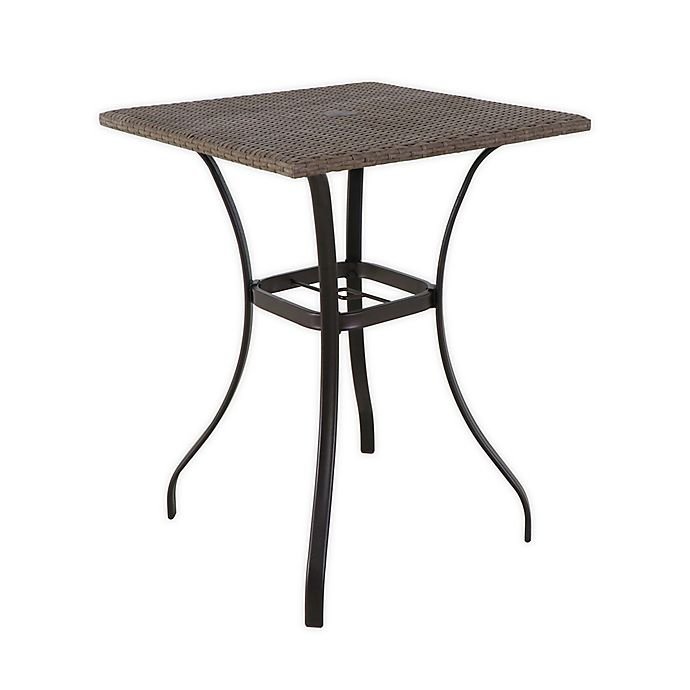 Alternate image 1 for Barrington Wicker High Patio Dining Table in Brown with Umbrella Hole