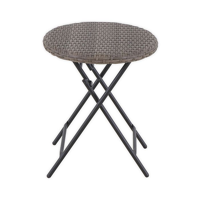 Alternate image 1 for Barrington Wicker Round Folding Patio Accent Table in Natural Brown