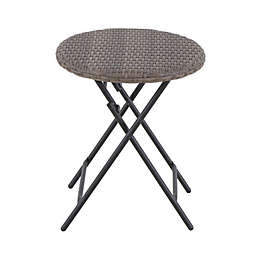 Barrington Wicker Round Folding Patio Accent Table in Natural Brown