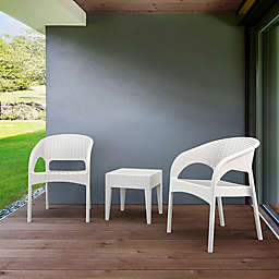 Panama 3-Piece Outdoor Patio Seating Set in White