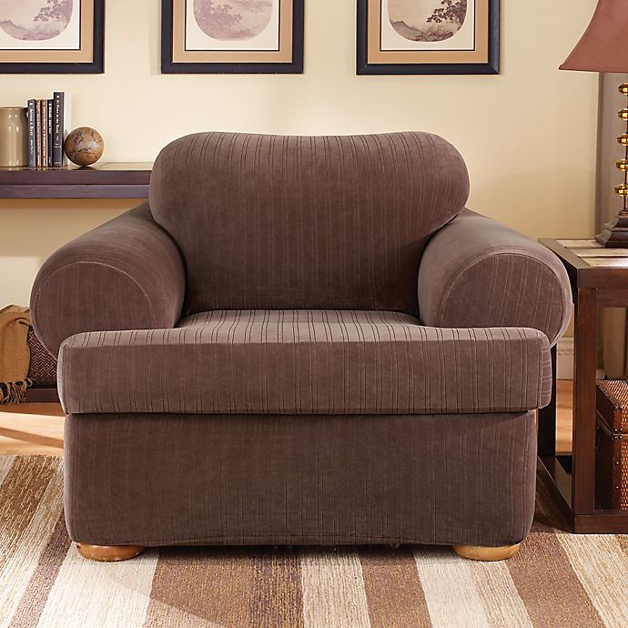 Alternate image 1 for Sure Fit® Stretch Pinstripe 2-Piece T-Cushion Chair Slipcover in Chocolate