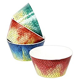 Swimmingly Melamine Shallow Bowls (Set of 4)
