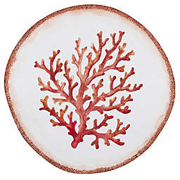 Swimmingly 17-Inch Melamine Shallow Serving Bowl in Coral/White